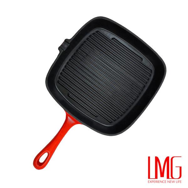 LMG▶BESTECK方形鑄鐵琺瑯鍋-紅色