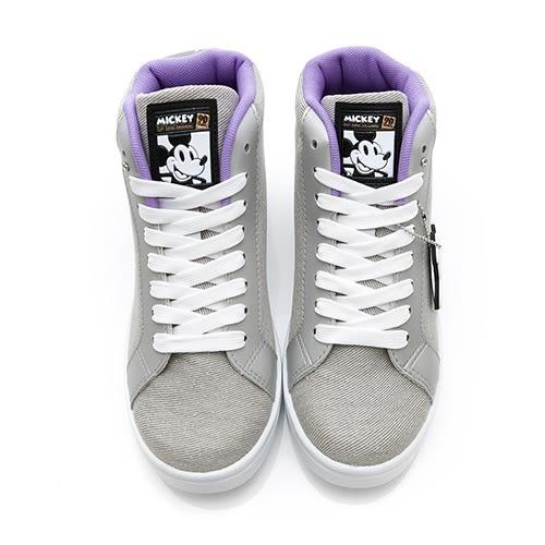 Disney 街頭玩酷 米奇高筒綁帶休閒鞋-灰