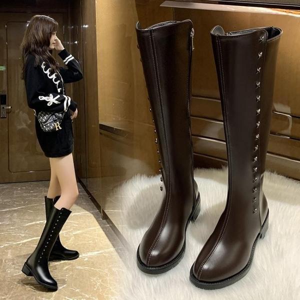 長靴帥氣鉚釘長筒靴女秋季新款百搭側拉錬英倫風不過膝騎士靴