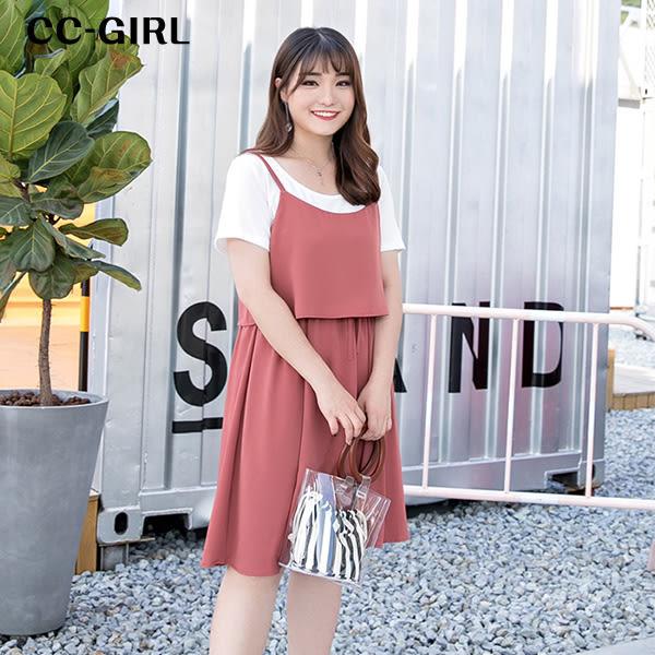 中大尺碼 氣質吊帶背心洋裝~共兩色 - 適XL~4L《 66366J 》CC-GIRL 新品