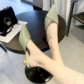 半拖鞋 包頭拖鞋女2020新款夏季外穿時尚小清新配裙子網紅懶人尖頭半拖鞋