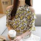 韓版碎花雪紡衫女2020夏季新款遮肚洋氣上衣設計感小眾短袖T恤 LF6060『小美日記』
