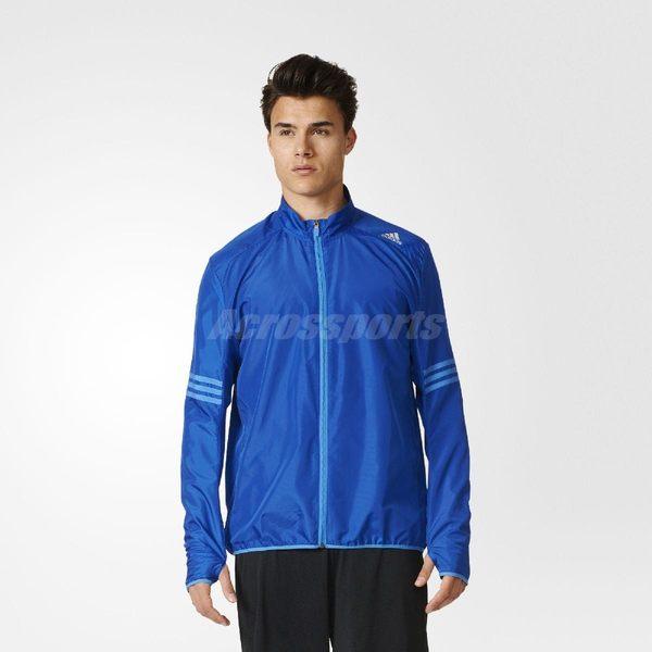 adidas 風衣外套 RS WIND JKT 男款 防風 運動 跑步 慢跑 路跑 夾克 長袖 上衣 三條線 藍 【PUMP306】 AX6496