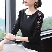 蕾絲打底衣 2020秋季新款韓版修身顯瘦上衣圓領拼接蕾絲袖長袖t恤女裝打底衫