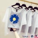 熱賣飛鼠袖上衣 2021夏季新款韓版寬鬆大碼體恤短袖t恤女洋氣上衣飛鼠衫兩件套裝【618 狂歡】