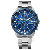 ALBA / VD57-X174B.AM3753X1 / 三眼計時 藍寶石水晶玻璃 日期 防水100米 不鏽鋼手錶 藍x銀 44mm