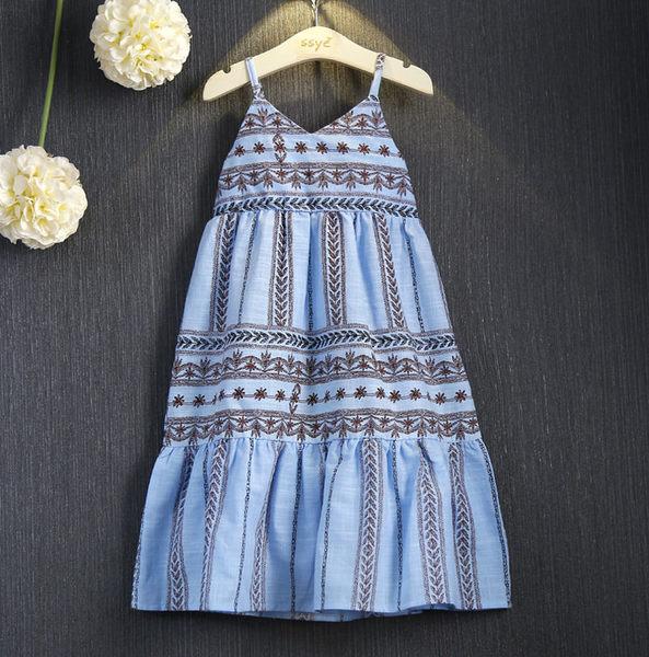 *╮S13小衣衫╭*清涼感民族風印花露背吊帶沙灘裙 1050701