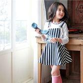 女童傘襬條文藍白牛仔吊帶裙 牛仔裙 吊帶裙   聖誕特賣橘魔法Baby magic 現貨 童裝 兒童