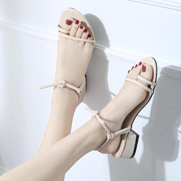 涼鞋 韓國綁帶粗跟中跟羅馬低跟夾趾百搭涼鞋露趾簡約交叉綁帶高跟鞋女【限時八五鉅惠】