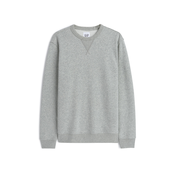 Gap男裝 簡約純色絨面內裡套頭休閒上衣 488111-麻灰色