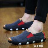 豆豆鞋夏季透氣一腳蹬帆布鞋韓版潮流男鞋豆豆懶人鞋男士休閒老北京布鞋 金曼麗莎