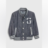 Gap男幼時尚復古紐扣棒球領外套538100-靛藍精紡斜紋布