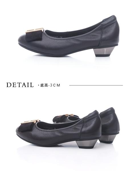 TAS金屬飾釦蝴蝶結拼接娃娃鞋-經典黑