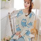 藍色貓頭鷹 棉質長袖二件式睡衣  居家服