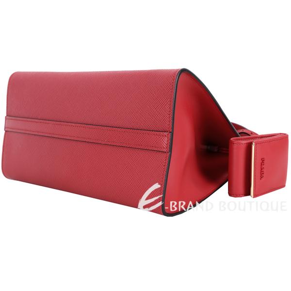 PRADA Monochrome 防刮牛皮兩用托特包(火紅色) 1820498-54