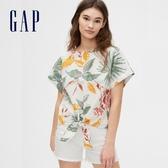 Gap女裝活力花卉圓領短袖襯衫577945-棕櫚樹圖案