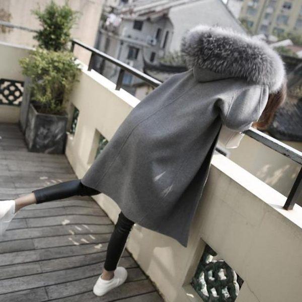 大衣【大毛領外套】 拉鍊版 灰色中長板翻領 腰身 修身顯瘦 挺版 外套 大衣【L121】