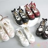 日系洛麗塔lolita厚底女鞋可愛蝴蝶結圓頭娃娃鞋皮鞋【聚可愛】