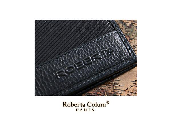 Roberta Colum - 雅痞時尚系牛皮款左右翻8卡1照短夾-黑色