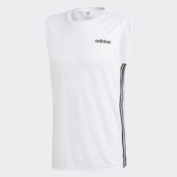 Adidas CORE LINEAR 男款訓練運動背心 白-NO.DU1249