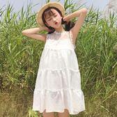 [超豐國際]夏裝日系軟妹寬松蕾絲拼接無袖娃娃裙顯瘦中長款連衣1入