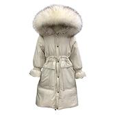 羽絨夾克-貉子毛領花苞袖大口袋女連帽外套3色73wc35[巴黎精品]