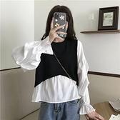 秋季韓版2020新款假兩件針織拼接設計感寬鬆泡泡長袖襯衫上衣女裝 【蜜斯蜜糖】