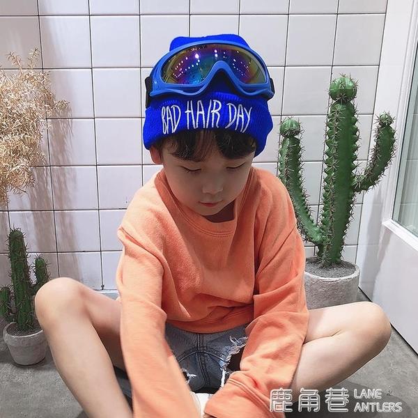 兒童毛線帽子潮韓版寶寶秋冬男女童加絨帽滑雪眼鏡護耳保暖套頭帽『快速出貨』