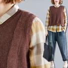 素面短版針織背心 寬鬆毛線背心 復古針織衫【B215167】