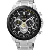 SEIKO 精工 CS 破風競速計時碼錶/手錶-黑x銀/45mm 8T63-00F0X(SSB247P1)