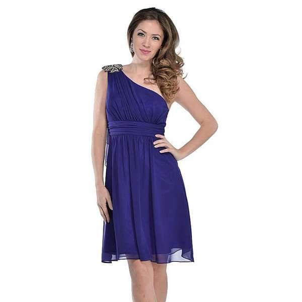 【摩達客】美國進口Landmark單肩斜肩藍紫色浪漫派對洋装宴會小禮服(含禮盒/附絲巾)(18315095001)