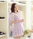 (現貨+預購 RN-girls)-夏日純色蕾絲歐根紗腰帶短袖洋裝