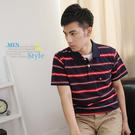 【大盤大】(P96108) 男 夏 台灣製 條紋棉T 口袋短袖POLO衫 立領休閒衫 百搭 男友禮物【剩M和L號】