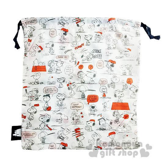〔小禮堂〕史努比  輕薄束口袋《L.白.多動作.朋友》棒球風系列4901610-76566