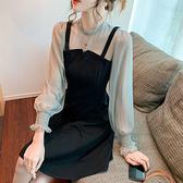 洋裝 假兩件網紗拚接連身裙-媚儷香檳-【FD0050】