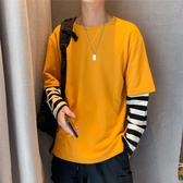 長袖T恤 港風嘻哈長袖t恤男士寬鬆潮流韓版帥氣ins衣服秋季套頭假兩件衛衣