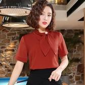 海豚心襯衫女短袖職業修身立領工作服打底上衣蝴蝶結套頭襯衣正裝