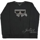 茱麗葉精品【全新現貨】KARL LAGERFELD 卡爾 水鑽卡爾公仔棉質長袖T恤.黑