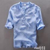 夏季純亞麻短袖襯衫男寬鬆立領純色薄款中國風盤扣復古純麻料襯衣【PINKQ】