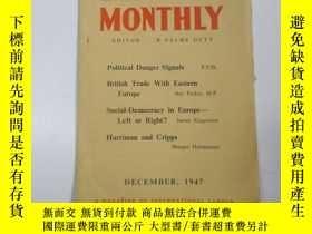 二手書博民逛書店民國外文原版罕見1947年 勞工月刊(labour monthl