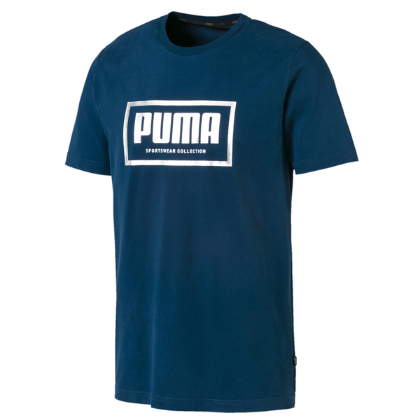 Puma Holiday 男 藍色 短袖 上衣 運動 休閒 棉質 T恤 運動休閒 58176338