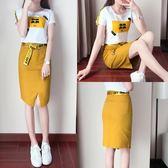套裝裙 韓版港味短袖t恤半身包臀裙兩件套女時髦套裝裙LJ10192『小美日記』