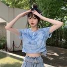 短款上衣 夏季修身高腰露臍短款扎染短袖t恤女上衣服-Ballet朵朵