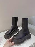 切爾西靴 馬丁靴女2021秋季厚底增高切爾西靴女ins潮網紅英倫風短靴女 嬡孕哺