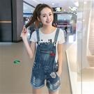 單寧吊帶褲(短褲)-日系風格修身版型女牛仔褲73eo7【時尚巴黎】