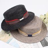 女帽子 防曬帽 女款草帽拉菲草平頂平沿帽子度假帽子時尚蝴蝶結草帽遮陽帽【多多鞋包店】pj447