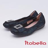 itabella.時尚曲線方頭娃娃鞋(9577-51藍色)