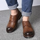 工裝鞋男真皮英倫大頭皮鞋男韓版百搭休閒低幫鞋復古馬丁鞋靴子潮 依凡卡時尚