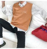 針織衫毛線背心男韓版潮流小清新無袖線衫情侶學生學院風毛衣馬甲 免運
