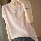 新款棉麻上衣針織短袖女士v領純棉T恤大碼韓版打底衫夏季半袖 韓國時尚週